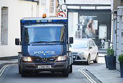 © Licensed to London News Pictures. 20/08/2018. London, UK. A convoy of armoured police vehicles carrying Westminster terrorist attack suspect Salih Khater arrives at Westminster Magistrates Court in London where he is due to face charges. 29 year-old, Sudanese-born Salih Khater is accused of driving his car at pedestrians and a security barrier at the Houses Of Parliament in London on August 14th, 2018. Photo credit: Ben Cawthra/LNP