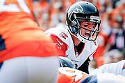 Atlanta Falcons quarterback Matt Ryan (2) calls out a play during an NFL football game against the Denver Broncos, Sunday, Oct. 9, 2016, in Denver. The Falcons defeated the Broncos, 23-16. (Ryan Kang via AP)