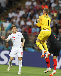 MOSCOW, July 11, 2018  Goalkeeper Jordan Pickford (C) of England defends during the 2018 FIFA World Cup semi-final match between England and Croatia in Moscow, Russia, July 11, 2018. (Credit Image: © Xu Zijian/Xinhua via ZUMA Wire)