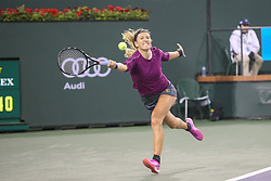 March 8, 2019 - Indian Wells, CA, U.S. - INDIAN WELLS, CA - MARCH 08: Victoria Azarenka (BLR) stretches for a forehand during the BNP Paribas Open on March 8, 2019 at Indian Wells Tennis Garden in Indian Wells, CA. (Photo by George Walker/Icon Sportswire) (Credit Image: © George Walker/Icon SMI via ZUMA Press)
