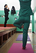 JINHUA, CHINA -  (CHINA OUT) <br /> <br /> Prisoners Practice Yoga In Jinhua<br /> <br /> Female inmates practice yoga at a prison  in Jinhua, Zhejiang Province of China. In 2011, warder Tang Junhui started to promote Yoga twice sessions a week among female inmates to improve their health and emotions.prison, prisoner, inmate, yoga, do exercise<br /> ©ChinaFoto/Exclusivepix
