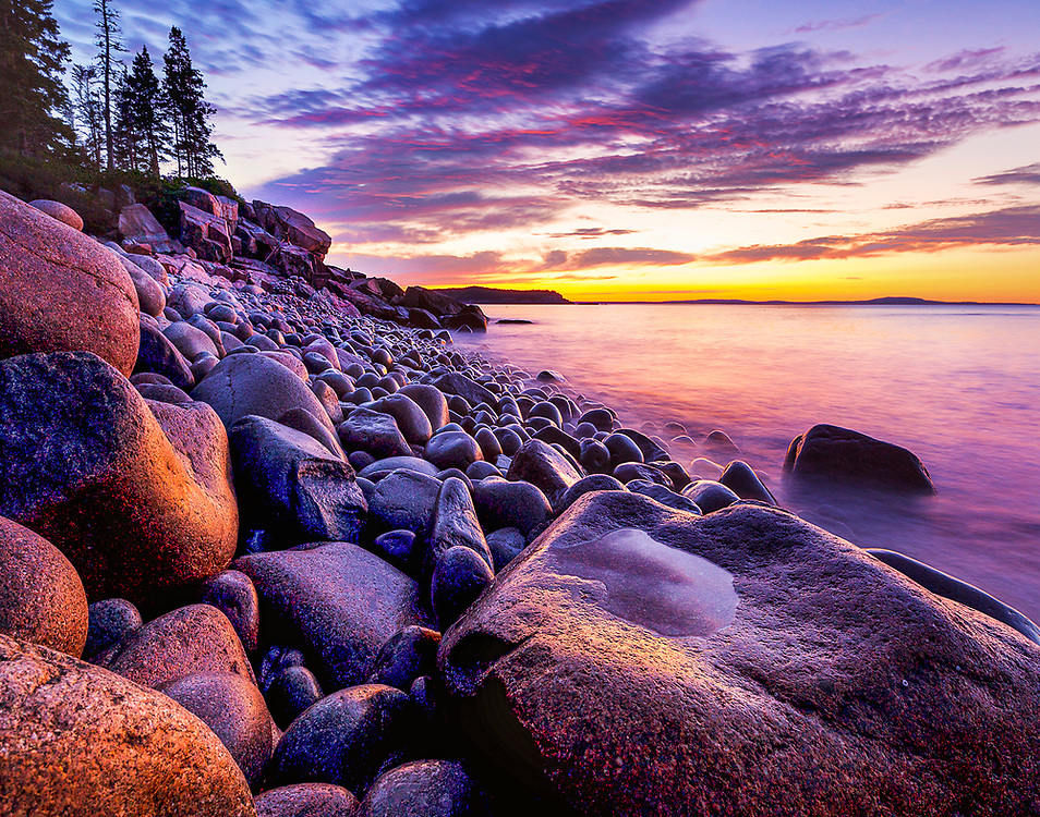 """Boulder Beach Sunrise - Acadia National Park, Maine <br /> <br /> Available sizes:<br /> 11"""" x 14"""" print <br /> <br /> See Pricing page for more information. Please contact me for custom sizes and print options including canvas wraps, metal prints, assorted paper options, etc. <br /> <br /> I enjoy working with buyers to help them with all their home and commercial wall art needs."""