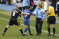 Photo: Alan Crowhurst. Digitalsport  Millwall v Cardiff City, Coca-Cola Championship, 23/10/04. Dennis Wise angrily pushes his coaching staff off the pitch after an exchange of words with the opposition.