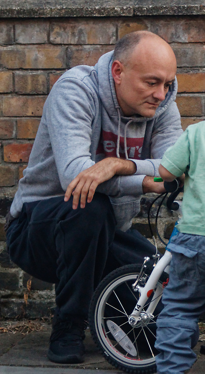 PICTURE EXCLUSIVE - SPECIAL FEES APPLY - CALL BEFORE USE<br /> London, United Kingdom - 8 September 2019<br /> Dominic Cummings looks startled to be spotted arriving back at his north London home on Sunday after a day out with his wife, Mary Wakefield, his son and some friends. Despite clutching a new child's bicycle and fussing over his young son, at times he seemed lost in his thoughts as he tried to focus on his family rather than the dramatic and explosive week in Westminster politics. As Boris Johnson's special political advisor, the former campaign director of Vote Leave has this week found himself at the centre of controversy and harsh criticism from MPs over the handling of the sacking of twenty one rebel Conservative MPs.<br /> EXCLUSIVE PICTURES - MANDATORY BYLINE: EQUINOXFEATURES.COM - A charge is made for each use of each picture in each format on each platform in each territory.<br /> (photo by: EQUINOXFEATURES.COM)<br /> Picture Data:<br /> Photographer: Equinox Features<br /> Copyright: ©2019 Equinox Licensing Ltd. +443700 780000<br /> Contact: Equinox Features<br /> Date Taken: 20190908<br /> Time Taken: 18473710<br /> www.newspics.com