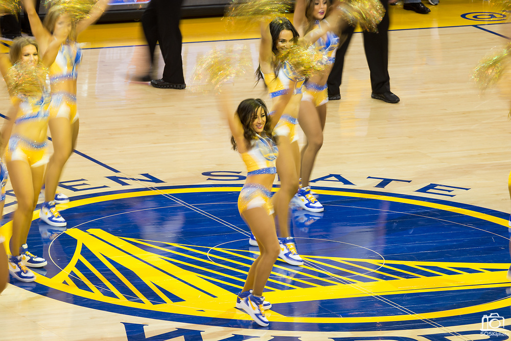 The Golden State Warriors cheerleaders perform during a timeout during Game 1 of the Western Conference Semifinals against the Utah Jazz at Oracle Arena in Oakland, Calif., on May 2, 2017. (Stan Olszewski/Special to S.F. Examiner)