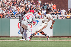 June 3, 2018 - San Francisco, CA, U.S. - SAN FRANCISCO, CA - JUNE 03: San Francisco Giants Right field Andrew McCutchen (22) is safe at second during the MLB game between the Philadelphia Phillies and San Francisco Giants on June 3, 2018, at AT&T Park in San Francisco, CA. (Photo by Bob Kupbens/Icon Sportswire) (Credit Image: © Bob Kupbens/Icon SMI via ZUMA Press)