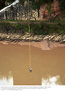 David Kirke's 21 St Anniversary  bungy jump off Clifton Suspension Bridge. 1 April 2000. <br />  <br /> © Copyright Photograph by Dafydd Jones 66 Stockwell Park Rd. London SW9 0DA Tel 020 7733 0108 www.dafjones.com
