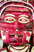 Mictlantecuhtli, the Mixtec God of Death, carved from radishes for Noche de Rabanos, Oaxaca, Mexico.