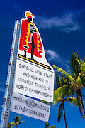 Sign at the start of the Ironman Triathlon, Kailua-Kona, Hawaii, USA