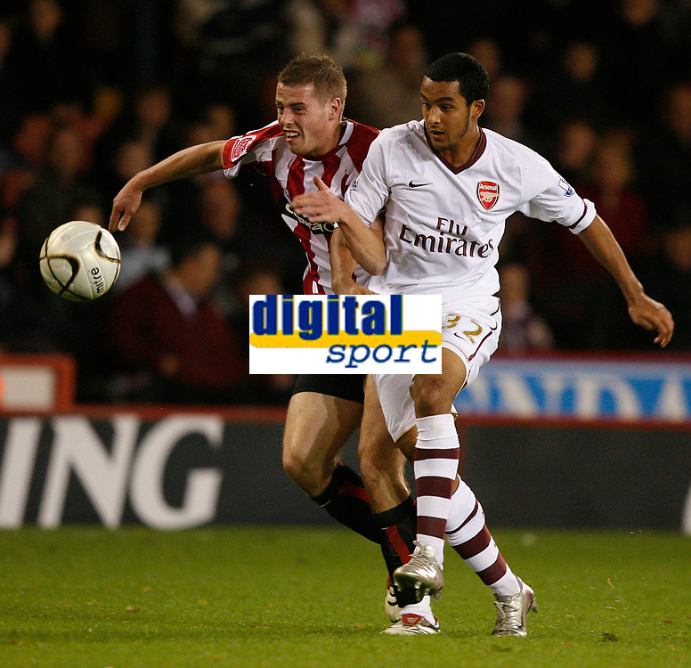 Photo: Steve Bond.<br />Sheffield United v Arsenal. Carling Cup. 31/10/2007. theo Walcott heads off on another run