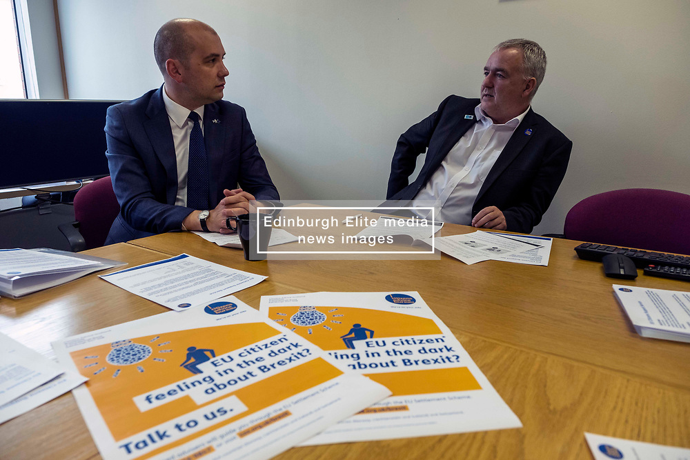 Pictured: Ben Macpharson and Derek Mitchell, CEO of CAS<br /><br />Citizens Advice Scotland (CAS) has rolled out an extended telephone service to help EU, EEA and Swiss nationals stay in Scotland after Brexit.<br /> <br />The EU Citizens Support service from this week is now backed up by a full time helpline as well as dedicated advisers based across Scotland.<br /> <br />The scheme, funded by both the UK government and Scottish Government, is specifically focused on people who:<br /> <br />-              have difficulty accessing an android mobile phone<br />-              have limited access to the internet<br />-              find it difficult to get the evidence needed to apply<br />-              are at greater risk due to personal circumstances<br />-              have specific immigration or residency issues<br /> <br />This morning Scottish Government Minister for Europe, Migration and International Development Ben Macpherson received a briefing on the enhanced service from Citizens Advice Scotland.<br /><br />Ger Harley   EEm 8 August 2019