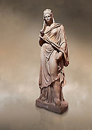 Roman statue of Plancia Magna a prominent woman from Anatolia who lived between the 1st century and 2nd century in the Roman Empire. Marble . Perge. 2nd century AD. Inv no 3459 . Antalya Archaeology Museum; Turkey. Against a warm art background. .<br /> <br /> If you prefer to buy from our ALAMY STOCK LIBRARY page at https://www.alamy.com/portfolio/paul-williams-funkystock/greco-roman-sculptures.html . Type -    Antalya     - into LOWER SEARCH WITHIN GALLERY box - Refine search by adding a subject, place, background colour, museum etc.<br /> <br /> Visit our ROMAN WORLD PHOTO COLLECTIONS for more photos to download or buy as wall art prints https://funkystock.photoshelter.com/gallery-collection/The-Romans-Art-Artefacts-Antiquities-Historic-Sites-Pictures-Images/C0000r2uLJJo9_s0