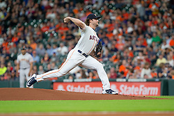 May 22, 2018 - Houston, TX, U.S. - HOUSTON, TX - MAY 22: Houston Astros starting pitcher Gerrit Cole (45) delivers the pitch in the first inning during an MLB baseball game between the Houston Astros and the San Francisco Giants on May 22, 2018 at Minute Maid Park in Houston, Texas. (Photo by Juan DeLeon/Icon Sportswire) (Credit Image: © Juan Deleon/Icon SMI via ZUMA Press)