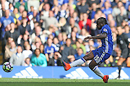 GOAL - Victor Moses of Chelsea scores his sides 3rd goal. Premier league match, Chelsea v Leicester city at Stamford Bridge in London on Saturday 15th October 2016.<br /> pic by John Patrick Fletcher, Andrew Orchard sports photography.