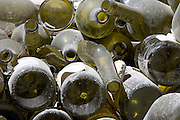 close up of to recycle empty wine bottles