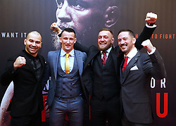 Conor McGregor with head coach John Kavanagh (right) MMA fighter Artem Lovov (left) and coach Owen Roddy on arrival at the Conor McGregor: Notorious premiere at the Savoy Cinema in Dublin.