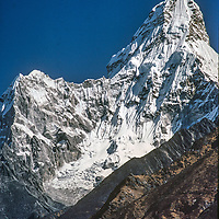 Mount Ama Dablam, sacred to the Sherpa people,  towers above the Khumbu region of Nepal, near Mount Everest.