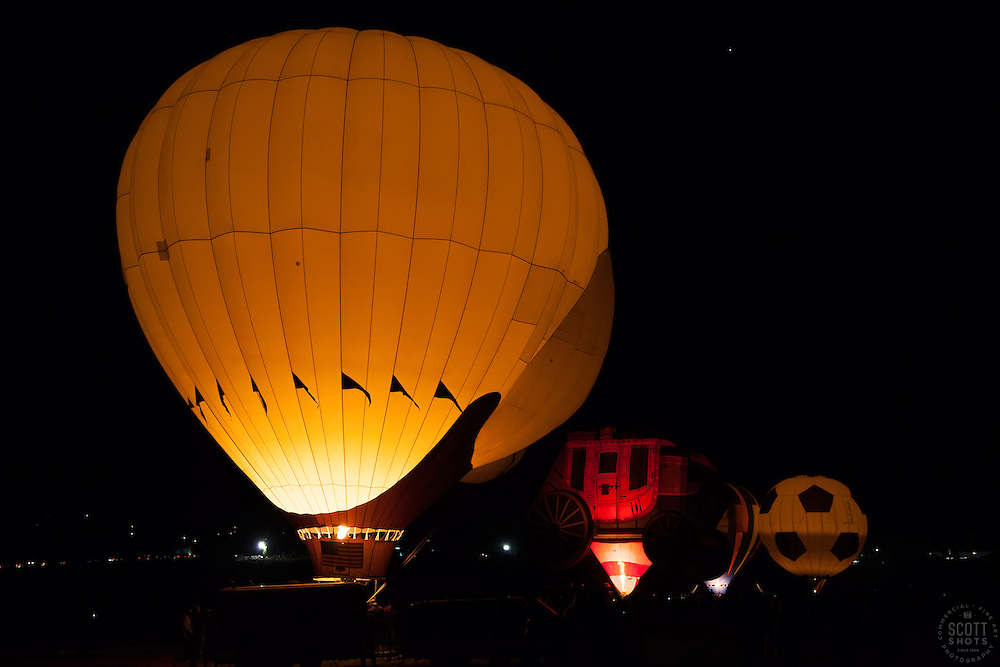"""""""The Glow Show 3"""" - Photograph of glowing hot air balloons during the Glow Show at the 2012 Great Reno Balloon Race."""