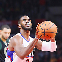 16 December 2015: Los Angeles Clippers guard Chris Paul (3) is seen at the free throw line during the Los Angeles Clippers 103-90 victory over the Milwaukee Bucks, at the Staples Center, Los Angeles, California, USA.