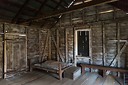 Interior of preserved slave quarters shack at cotton plantation at Frogmore Farm in Ferriday, the Deep South, Louisiana, USA