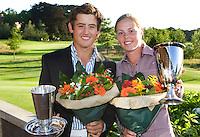 DEN DOLDER - Kampioen Darius van Driel en Christel Boeljon van  het NK Strokeplay golf op Golfsocieteit  De Lage Vuursche. COPYRIGHT KOEN SUYK
