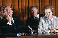 Margaret Thatcher and German Chancellor Herr Schmidt at press conference in London in 1979. Photograph by Terry Fincher