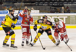 21.03.2017, Eiswelle, Bozen, ITA, EBEL, HCB Suedtirol Alperia vs UPC Vienna Capitals, Playoff, Halbfinale, 4. Spiel, im Bild v.l. Philippe Lakos (Vienna Capitals), Marc-Olivier Vallerand (HCB Suedtirol), Dominic Hackl (Vienna Capitals), Travis Oleksuk (HCB Suedtirol) // during the Erste Bank Icehockey League, playoff semifinal 4th match between HCB Suedtirol Alperia and UPC Vienna Capitals at the Eiswelle in Bozen, Italy on 2017/03/21. EXPA Pictures © 2017, PhotoCredit: EXPA/ Johann Groder