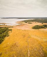 Aerial view of unusual landscape of coastline on the island of Vormsi in Estonia