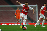 Santi Cazorla in action for Arsenal. U21 Barclays Premier league play off final match, Arsenal U21's v Aston Villa U21's at the Emirates Stadium in London on Tuesday 10th May 2016.<br /> pic by Steffan Bowen, Andrew Orchard sports photography.