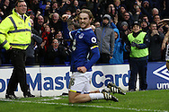 Tom Davies of Everton celebrates after he scores his teams 3rd goal. Premier league match, Everton v Manchester City at Goodison Park in Liverpool, Merseyside on Sunday 15th January 2017.<br /> pic by Chris Stading, Andrew Orchard sports photography.