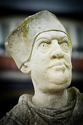 Statue of Cardinal Wolsey, Chancellor to Henry VIII, Abbey Park, Leicester, England, UK.