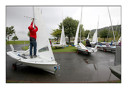 470 Class European Championships Largs - ..Rig adjustments in a damp dinghy park