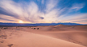 Sunset over the Mesquite Flat Sands Dunes. Iconic dunes in central Death Valley near to Stovepipe Wells and a short walk off Highway 190. The dunes are larely windblown so there are no formal trails and it's wonderful to enjoy the evening light (and away from the midday heat)