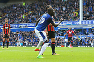 Oumar Niasse of Everton celebrates after scoring his teams 1st goal to make it 1-1. Premier league match, Everton vs Bournemouth at Goodison Park in Liverpool, Merseyside on Saturday 23rd September 2017.<br /> pic by Chris Stading, Andrew Orchard sports photography.