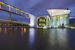 Government buildings Marie-Elisabeth Luders haus part of Bundestag Regierungsviertel at dusk beside Spree River in central Berlin Germany