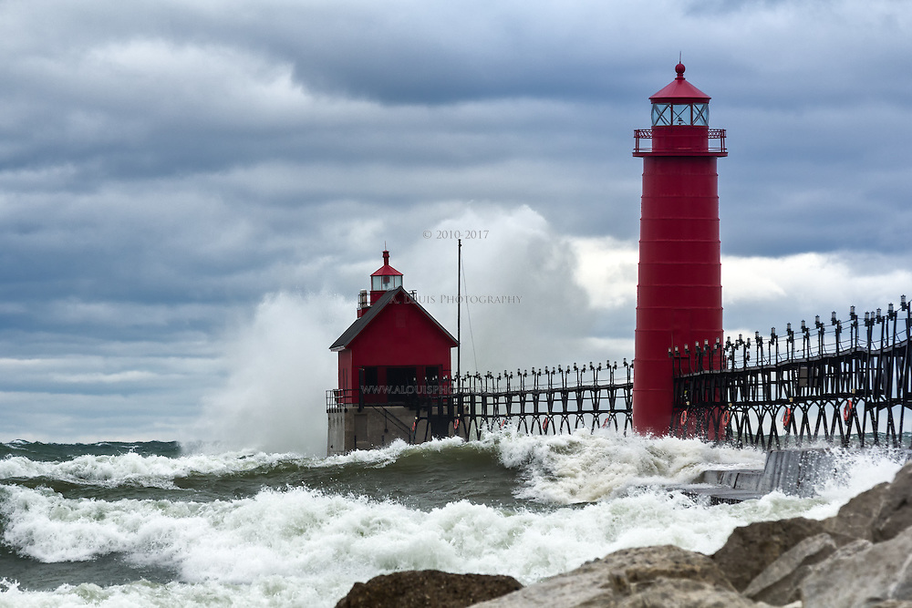 Gale force winds send heavy surf to pound the lighthouses of Grand Haven,MI