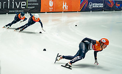 Suzanne Schulting of Netherlands, Xandra Velzeboer of Netherlands, Selma Poutsma of Netherlands in action on 1500 meter during ISU World Short Track speed skating Championships on March 05, 2021 in Dordrecht