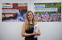 © Licensed to London News Pictures. 19/02/2018. London, UK. SANDRA KHADHOURI, (head of communications),  poses for a photograph at the launch event for Renew, a new anti-Brexit political party, at the Queen Elizabeth II Conference Centre in London. The Renew party, which is taking advice from representatives of Emmanuel Macron's En Marche, has recruited some 220 candidates to stand in local and national elections. Photo credit: Ben Cawthra/LNP