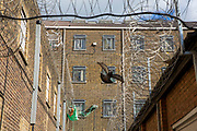 A pigeon flies through the outside area between prison wings of HMP Pentonville, London, UK. The cell windows are protected with metal bars and netting, but green drop lines can be seen hanging off the windows and leading to other cells. This is how prisoners pass contraband items to each other.  The external walls are protected with razor wire. HM Prison Pentonville is an English Category B men's prison, operated by Her Majesty's Prison Service. Pentonville Prison is located on  Caledonian Road in the Barnsbury area of the London Borough of Islington, north London, United Kingdom. (Photo by Andy Aitchison)