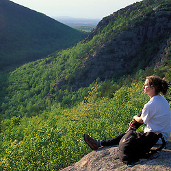 Acadia N.P., ME. Hiking on the South Bubble. Spring.