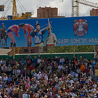 Crowds in the bleachers watch events at the national naadam festival in Ulaanbaatar, Mongolia.