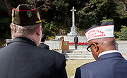American military veterans  during the Remembrance Sunday ceremony at the Hodogaya, Commonwealth War Graves Cemetery in Hodogaya, Yokohama, Kanagawa, Japan. Sunday November 12th 2017. The Hodagaya Cemetery holds the remains of more than 1500 servicemen and women, from the Commonwealth but also from Holland and the United States, who died as prisoners of war or during the Allied occupation of Japan. Each year officials from the British and Commonwealth embassies, the British Legion and the British Chamber of Commerce honour the dead at a ceremony in this beautiful cemetery.