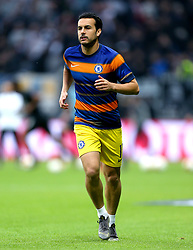 Chelsea's Pedro during the pre-match warm up ahead of the UEFA Europa League Semi final, first leg match at The Frankfurt Stadion, Frankfurt.