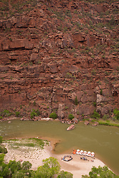 North America, United States, Colorado, Dinosaur National Monument, Green River (Gates of Lodore section), campsite and rafts, viewed from above