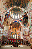 Pictures & images of the Byzantine mosaics and frescoes in the interior of the Gelati Georgian Orthodox Church of the Virgin, 1106. The medieval Gelati monastic complex near Kutaisi in the Imereti region of western Georgia (country). A UNESCO World Heritage Site. .<br /> <br /> Visit our MEDIEVAL PHOTO COLLECTIONS for more   photos  to download or buy as prints https://funkystock.photoshelter.com/gallery-collection/Medieval-Middle-Ages-Historic-Places-Arcaeological-Sites-Pictures-Images-of/C0000B5ZA54_WD0s<br /> <br /> Visit our REPUBLIC of GEORGIA HISTORIC PLACES PHOTO COLLECTIONS for more photos to browse, download or buy as wall art prints https://funkystock.photoshelter.com/gallery-collection/Pictures-Images-of-Georgia-Country-Historic-Landmark-Places-Museum-Antiquities/C0000c1oD9eVkh9c