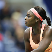 2017 U.S. Open Tennis Tournament - DAY ELEVEN. Sloane Stephens of the United States in action against Venus Williams of the United States in the Women's Singles Semifinals match at the US Open Tennis Tournament at the USTA Billie Jean King National Tennis Center on September 07, 2017 in Flushing, Queens, New York City.  (Photo by Tim Clayton/Corbis via Getty Images)