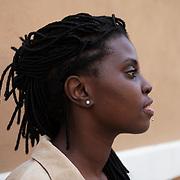 """Ferrara, Italy, October 3, 2020. La scrittrice Espérance Hakuzwimana Ripanti è stata tra le ospiti del Festival Internazionale a Ferrara. <br /> Nata in Ruanda nel 1991, durante gli anni del genocidio, fino a tre anni è rimasta in un orfanotrofio, e dopo l'adozione è cresciuta in provincia di Brescia. Nel 2015 si è trasferita a Torino, dove ha frequentato la Scuola Holden. Si definisce """"un'attivista culturale"""", e fa parte di """"Razzismo brutta storia"""", un movimento che lavora con bambine e bambini, ragazze e ragazzi, associazioni, scuole, carceri e biblioteche per smontare gli stereotipi alla base di tutte le discriminazioni<br /> Ha scritto """"E poi basta. Manifesto di una donna nera italiana"""" (People 2019).<br /> <br /> Ferrara, Italy, October 3, 2020. The writer Espérance Hakuzwimana Ripanti was among the guests of the International Festival in Ferrara. Born in Rwanda in 1991, during the years of the genocide, she remained in an orphanage for up to three years, and after adoption she grew up in the province of Brescia. In 2015 she moved to Turin, where she attended Scuola Holden. She defines herself as """"a cultural activist"""", and is part of """"Razzismo brutta storia"""", a movement that works with girls and boys, associations, schools, prisons and libraries to dismantle the stereotypes underlying all discrimination.<br /> She wrote """"E poi basta. Manifesto di una donna nera italiana"""" (People 2019)."""