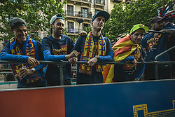 April 30, 2018 - Barcelona, Catalonia, Spain - FC Barcelona's players and technical staff during during the FC Barcelona's open top bus victory parade after winning the LaLiga with their eighth double in the club history (Credit Image: © Matthias Oesterle via ZUMA Wire)