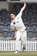 Ray Toole of CD bowls. Canterbury vs. Central Districts Day 2, 1st round of the 2021-2022 Plunket Shield cricket competition at Hagley Oval, Christchurch, on Sunday 24th October 2021.<br /> © Copyright Photo: Martin Hunter/ www.photosport.nz