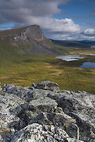 View over Laitaure delta and Skieffe mountain from Nammajs, Sarek National Park, Laponia World Heritage Site, Sweden